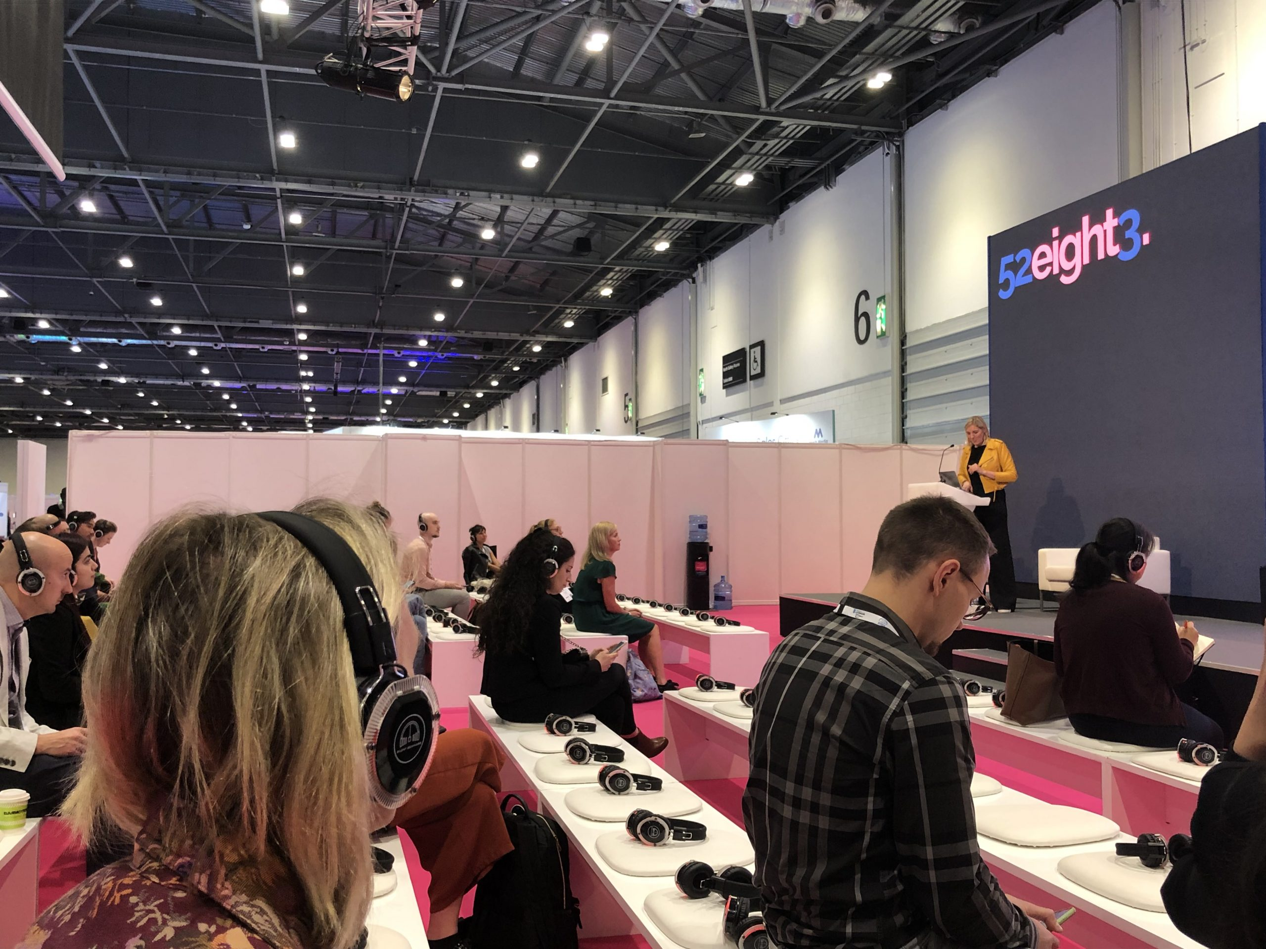 Silent Seminars wireless headphones used to listen to speak session in theatre at International Confex 2021,